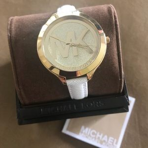 NWT Michael Kors white leather watch